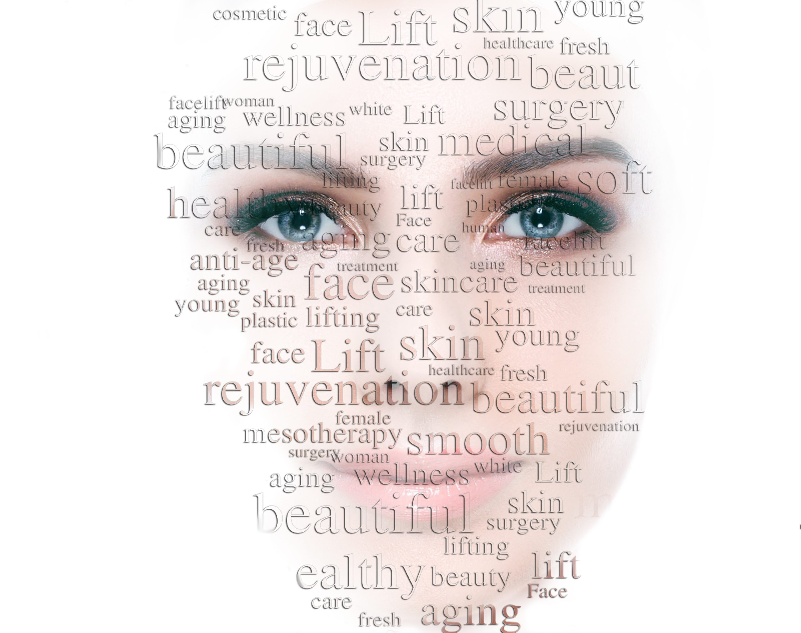 Beauty woman face with word on face showing cosmetology and aesthetic medicine concept. Lifting skin and rejuvenation skin